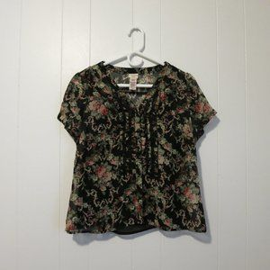 Covington Petite Floral on Black Button Blouse